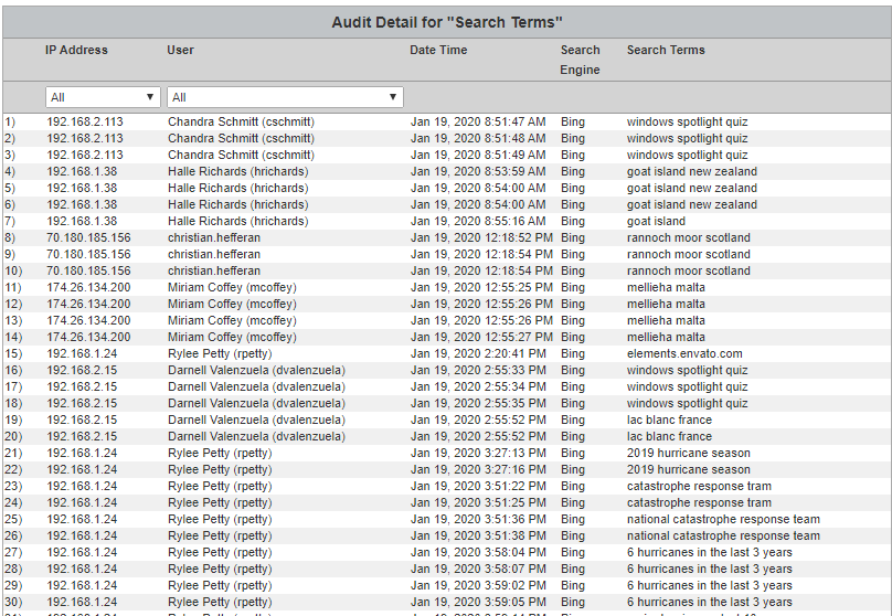 Cyfin Table Audit Search Terms